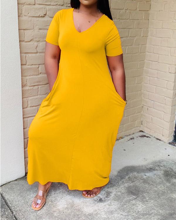 Pocket V-Neck Solid Color Maxi Dress
