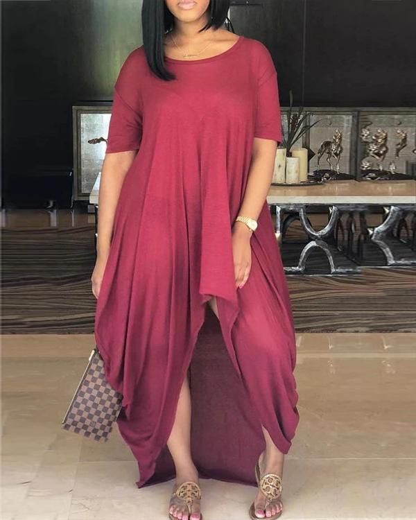 Asymmetric Hem Scoop Neck Solid Color Casual Dress