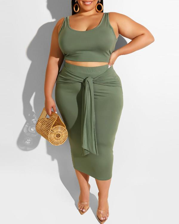 Sexy Bandage Skirt Vest Top Casual Suit