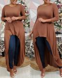 Solid Color Knitted Loose Oversized Top Dress