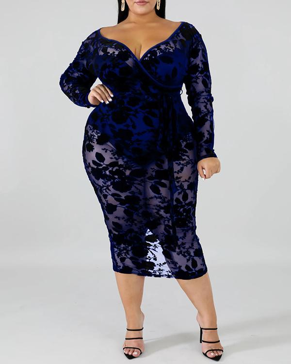 Long Sleeve Plus Size Lace Dress