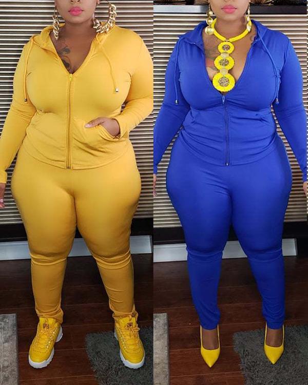 Plus Size Solid Color Sports Leisure Two-piece Suit