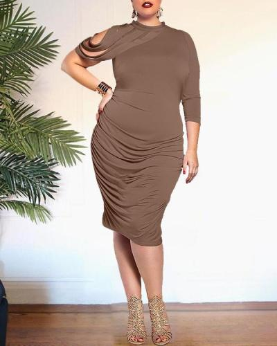 Plus Size Solid Color Sexy Dress