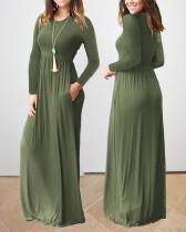 Loose Plain Casual Pockets Maxi Dress