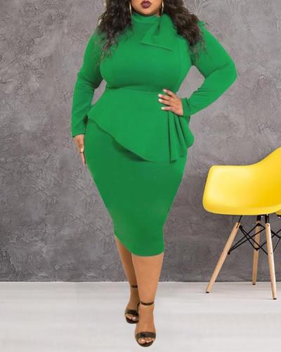 Plus Size Dress Bow Long Sleeve Dress