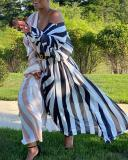 Striped Print Plus Size Dress