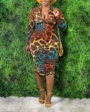 Printed Front Zip Dress