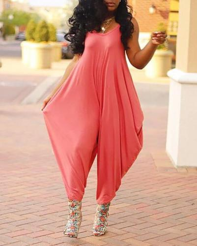 Solid Color Sling Wide-leg Jumpsuit