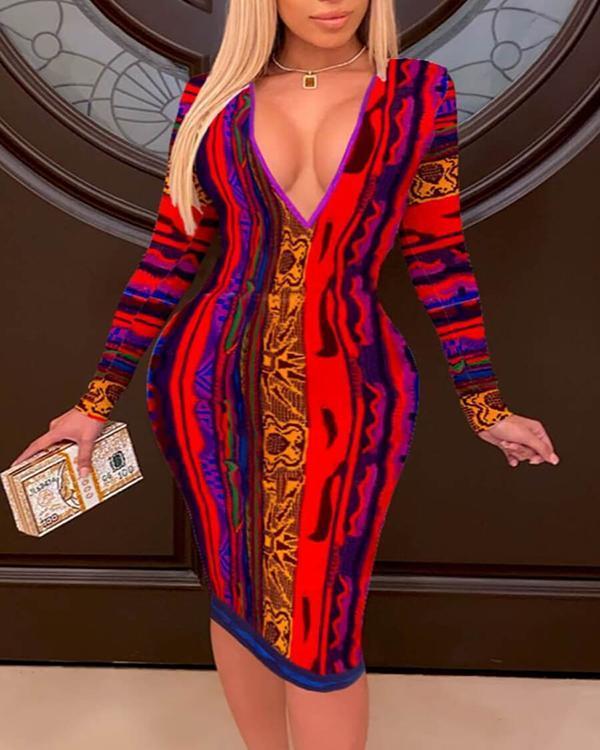 Plus Size Deep V Printed Knee Length Long Sleeve Dress