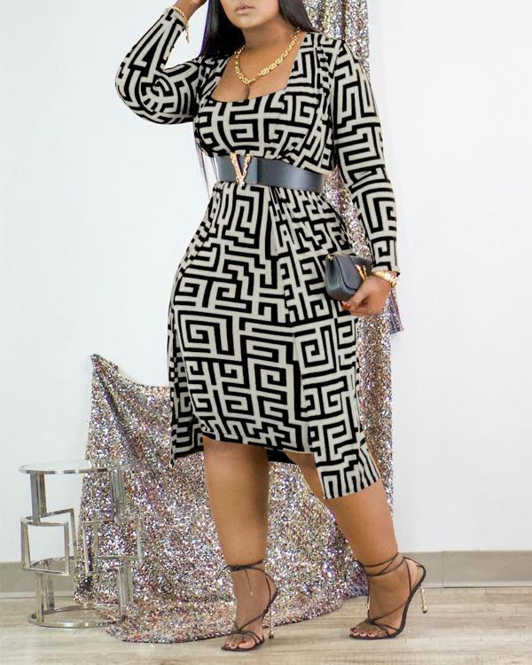 Multicolor Fashion Casual Print Basic O Neck Long Sleeve Two Pieces (Without Belt)