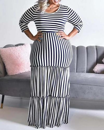 Striped Print Sexy Plus Size Dress