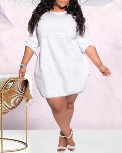 Plus Size Solid Color Bubble Dress