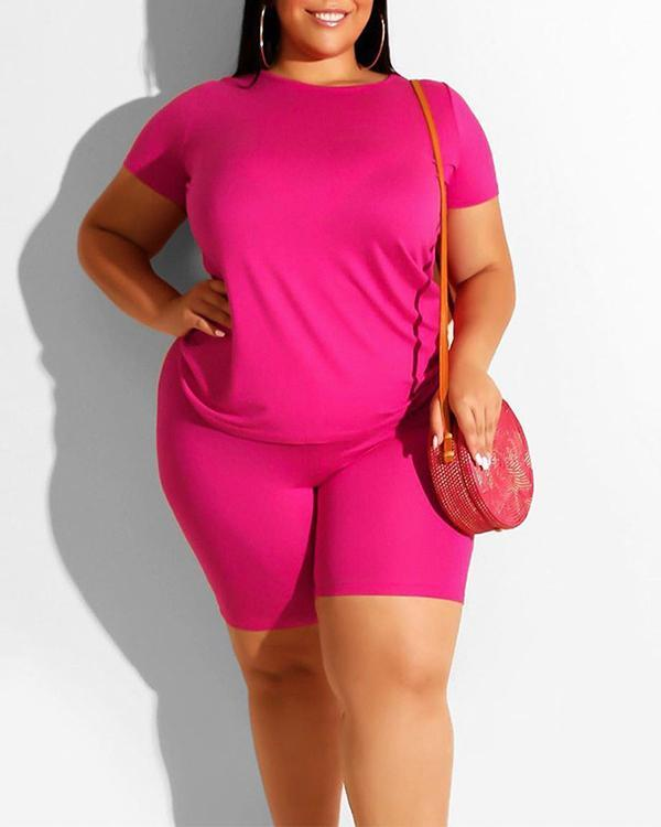 Plus Size Solid Color Casual Suit