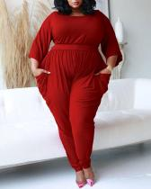 Solid Color Half Sleeve Casual Jumpsuit