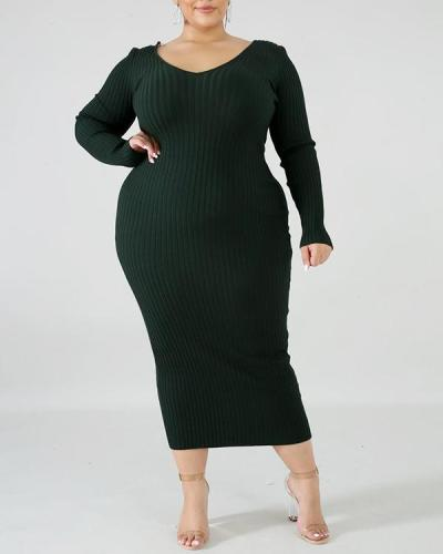 Solid Color Plus Size Dress