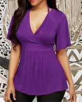 Solid Color Deep V Halterneck Top