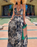 Halterneck Long Skirt Digital Print Big Swing Dress
