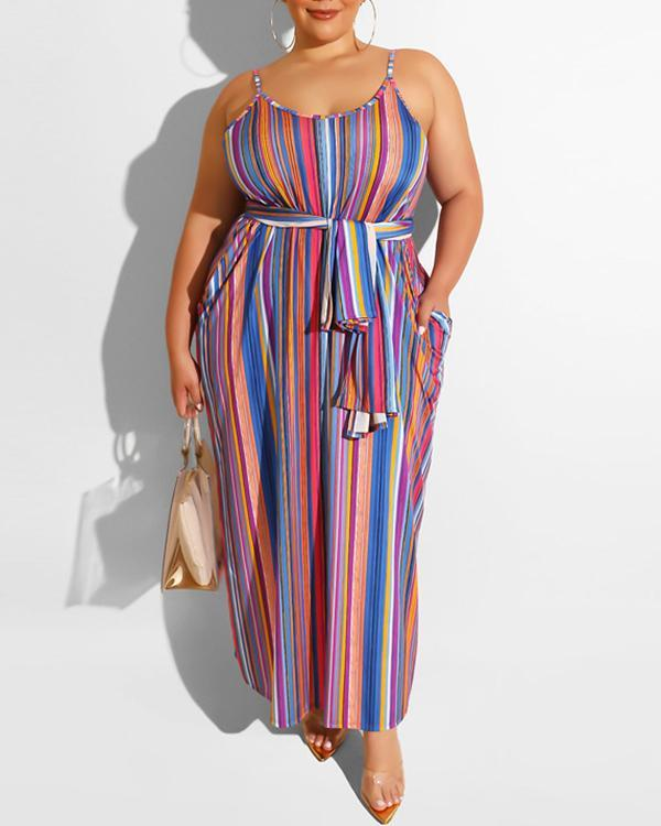 Plus Size Striped Loose Dress With Belt