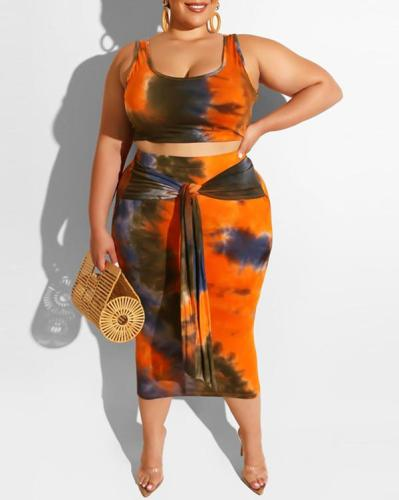 Tight Sexy Tie-dye Print Plus Size Two-piece Suit