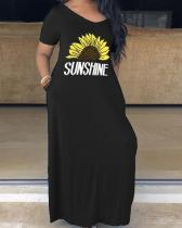 Casual Plus Size Short Sleeve V Neck Printed Maxi Dress