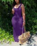 Sexy Fashion Solid Color Long Dress