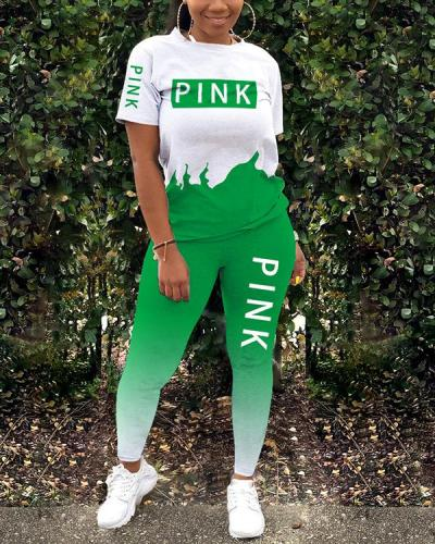 Cute Sports Printed Letters Two-Piece Set