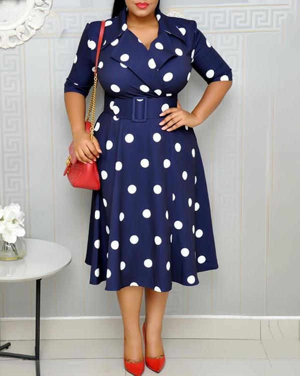 Polka-dot Plus Size Big Swing Wide Belt Dress