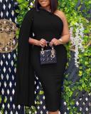 Sexy One-shoulder Plus Size Slim Pleated Elegant Party Dress