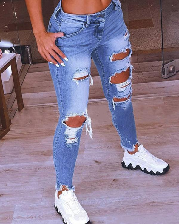 Fashion Casual Solid Mid Waist Regular Jeans