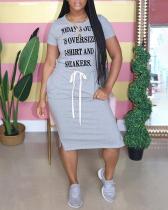 Letter Belt Drawstring Slit Dress