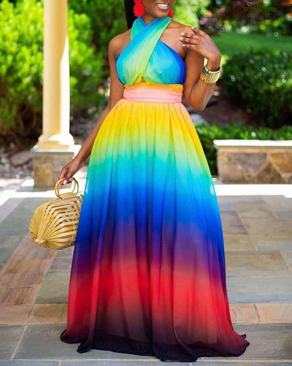 Cross Halter Off-the-shoulder Gradient Print Dress