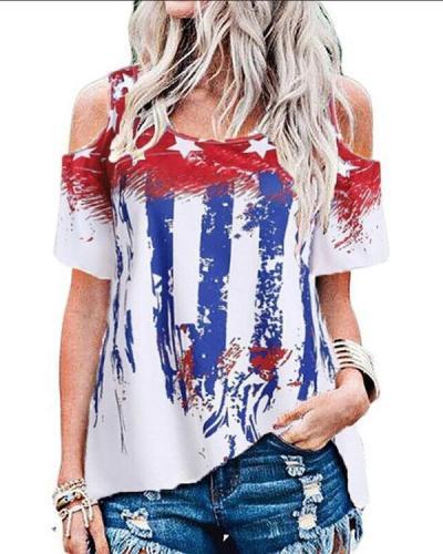 American Flag Round Neckline Half Sleeve Blouses