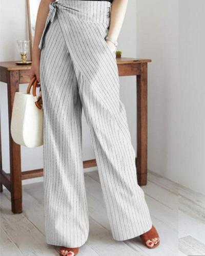 Stripe Casual Wrap Pocket Irregular Bandage Wide Leg Pants