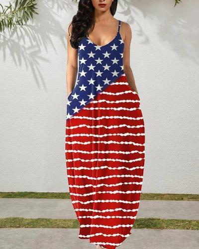 American Flag Star Maxi Dress