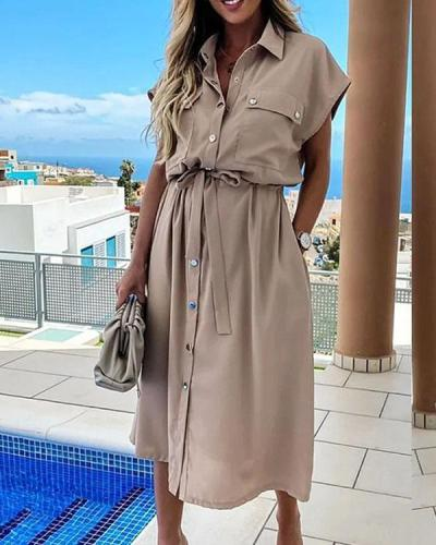 Solid Button up Pockets Bandage Waist Turn Down Collar Dress