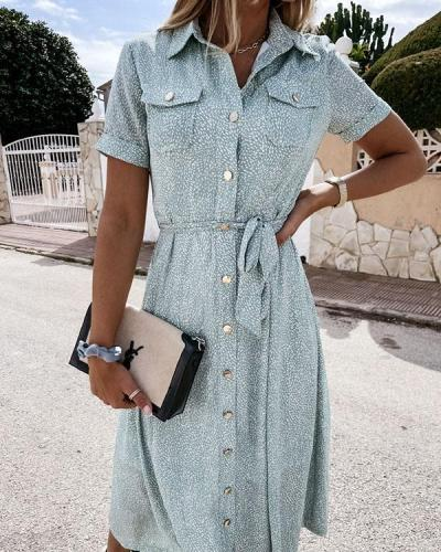 Daily/Vacation Button up Dot Print Pockets Shirt Dress with Waistband