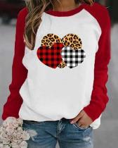 Heart Shaped Leopard Print Long Sleeves Color Block T-shirt