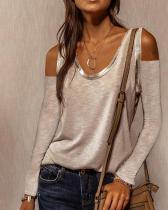 Off Shoulder V-Neckline Long Sleeve Blouses