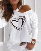 Heart Print One-Shoulder Long Sleeves Casual Blouses