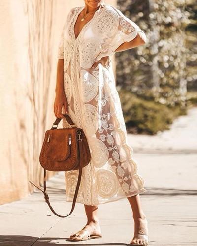 Sheer Lace Crochet Maxi Boho Dress