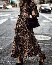 Holiday Leopard Print Crew Neck Dresses