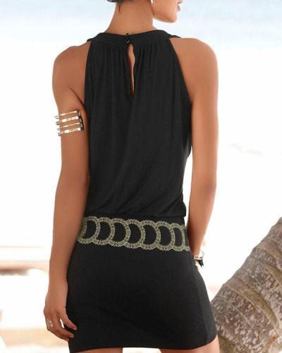 Casual Women Vacation Sleeveless Beach Dress