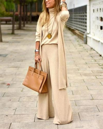 Beige Sweater Three-Piece Suit