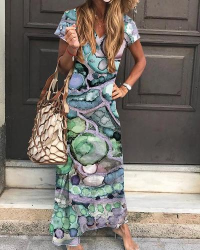 Casual Colorful V-neck Shift Maxi Dress