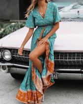 Bohemian Short Sleeves Holiday Lace-up Waist Maxi Dresses