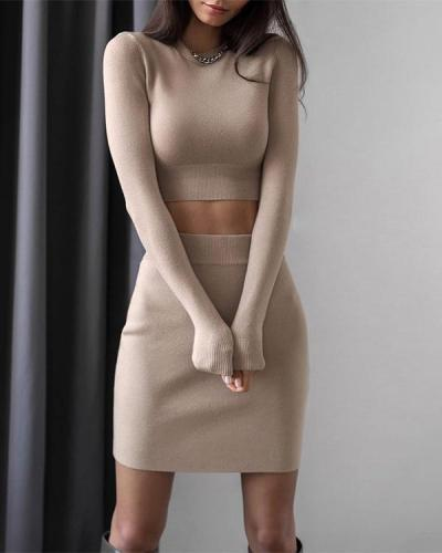 Fashion Skirt And Long Sleeve Two-Piece Suit