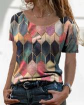 Women Casual Geometric Crew Neck Short Sleeve Shirts