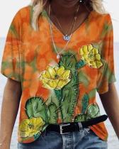 Oil Painting Print Short Sleeve V-Neck T-shirt