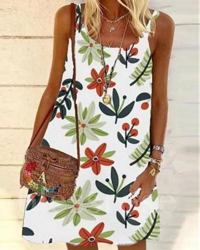 Casual Floral Slip Camisole Neckline Shift Dress