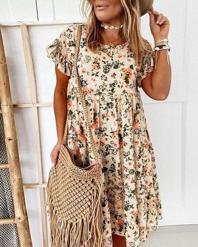 Ruffle Mini Dress Short Sleeve Floral Dresses